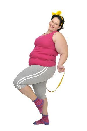 fat girl: Large girl doing fitness exercises isolated in white