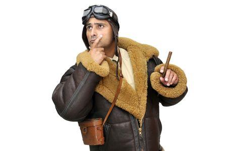 fighter pilot: Piloto de caza de WWII con cigarro aislado en blanco  Foto de archivo