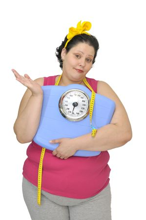 gluttonous: Resignated large girl with scale isolated in white