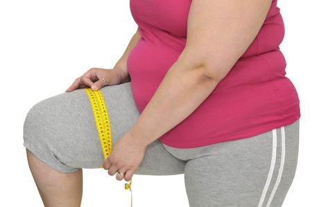 overweight women: Body part of a fat woman with measuring tape