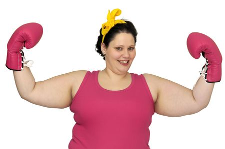 Large girl with boxing gloves isolated in white photo
