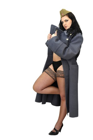 greatcoat: Sexy girl in lingerie with army coat isolated in white Stock Photo