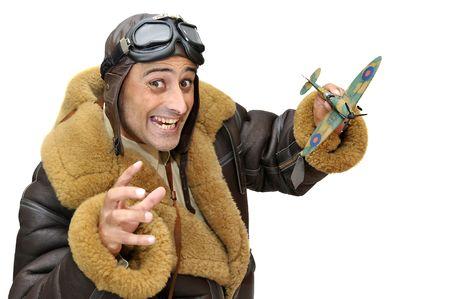 fighter pilot: Piloto de caza con plano de modelo aislado en blanco