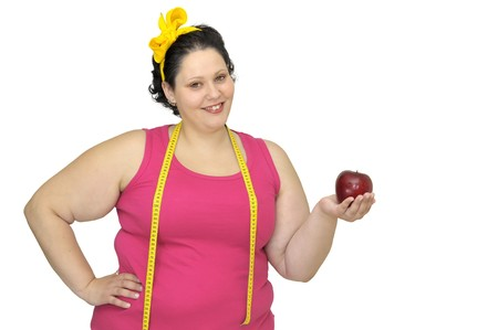 Large girl with apple and measuring tape photo