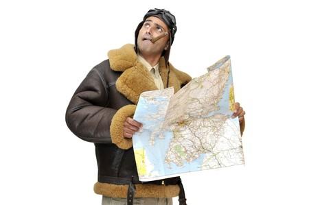 fighter pilot: Piloto de caza de WWII con mapa aislado en blanco  Foto de archivo