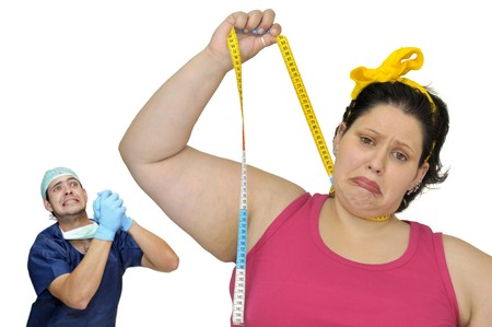 ni�a gorda: Desesperada chica grasa colgando a s� misma con cinta y m�dico de medici�n