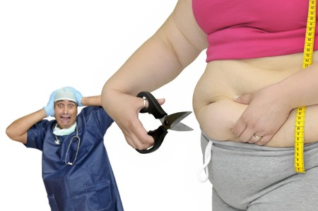 oversize: Body part of a fat woman with measuring tape and scissors with distressed doctor in the background