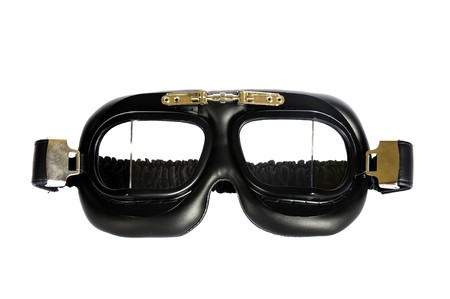 Retro pilot goggles isolated in white photo
