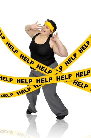 Large girl isolated in white with yellow tape photo