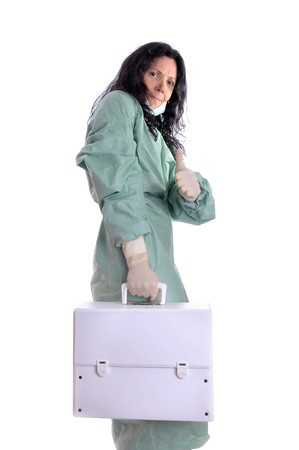 Nurse in uniform with first aid kit Stock Photo - 8341682
