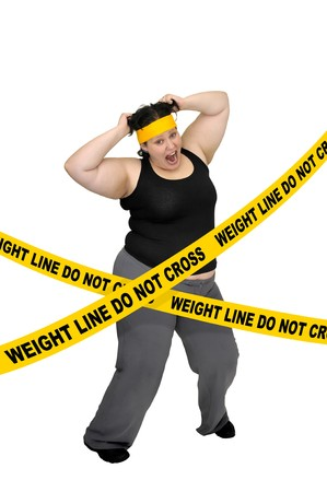 gluttonous: Large girl isolated in white with yellow tape Stock Photo