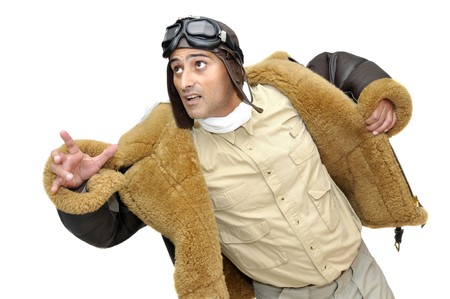 fighter pilot: Piloto de caza de WWII aislado en blanco  Foto de archivo