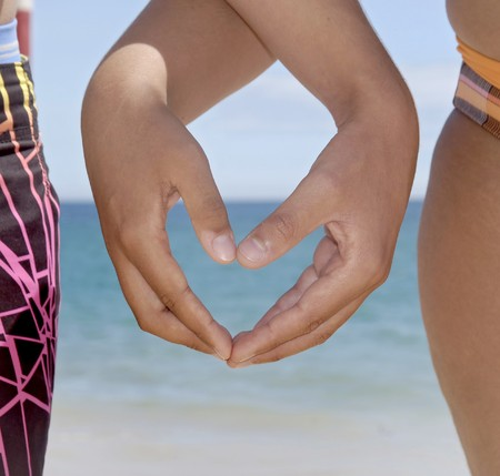 Heart made with hands in the beach photo