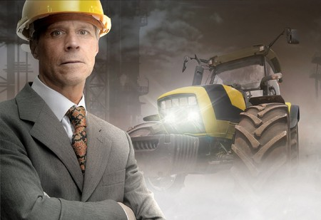 Engineer in a construction site Stock Photo