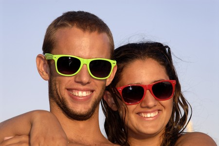 Happy young couple posing in the beach Stock Photo - 7589968