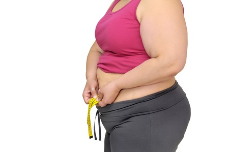 Body part of a fat woman with measuring tape Stock Photo - 7611118