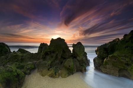 Last light in Meco beach, Portugal photo