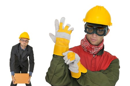 protective: Engineer and worker isolated in white Stock Photo