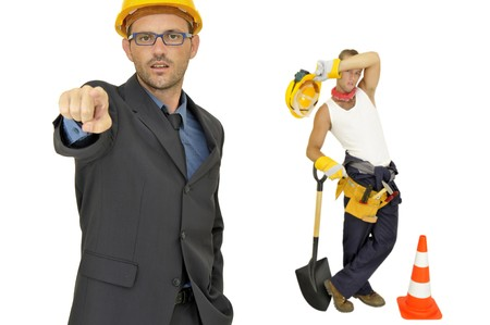 Engineer and worker isolated in white photo