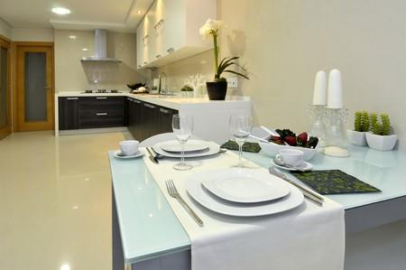Modern apartment big kitchen with beautiful decoration Stock Photo - 8103635