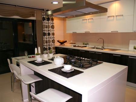 Modern apartment big kitchen with beautiful decoration photo