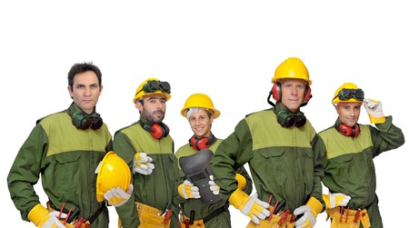 Workers team isolated in white photo