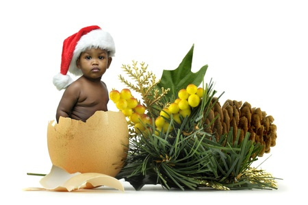 Beautiful black baby inside an egg in a christmas decoration Stock Photo - 8239407
