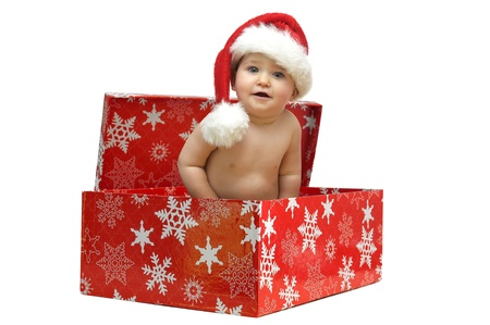 Beautiful baby with Christmas hat isolated in a gift box Stock Photo - 8341644