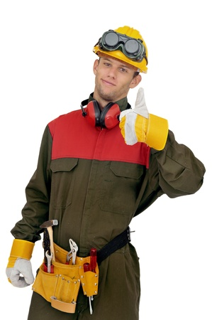 protective suit: Worker posing isolated in white