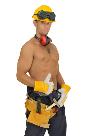 Muscular construction worker posing isolated in white Stock Photo - 8387385