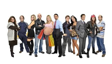 mucha gente:  Multitud o grupo de personas aisladas en blanco