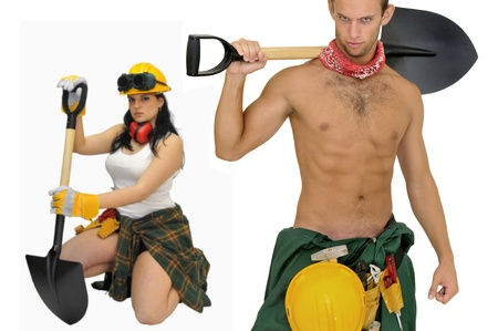 Young sexy construction workers team isolated in white photo