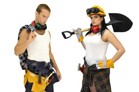 sexy construction worker: Young sexy construction workers team isolated in white Stock Photo