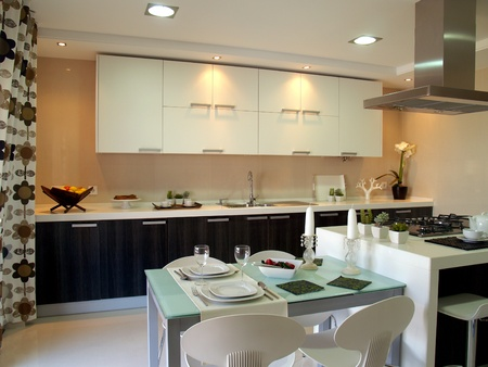 Modern apartment big kitchen with beautiful decoration photo