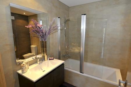 salle de bains: D�tails de d�coration de salle de bains Appartement moderne Banque d'images