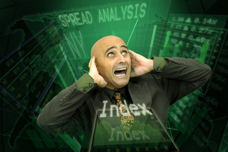 Businessman or stock broker with digital pannels background photo