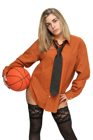man's shirt: Sexy girl with mans shirt and tie holding a basketball
