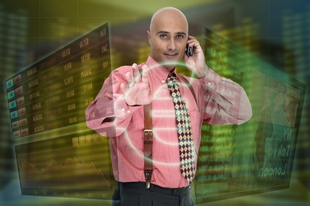 Businessman or stock broker with digital panels background
