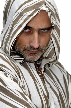 bedouin: Arabic man isolated in white