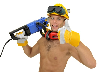 Muscular construction worker with chainsaw posing isolated in white Stock Photo - 8829188