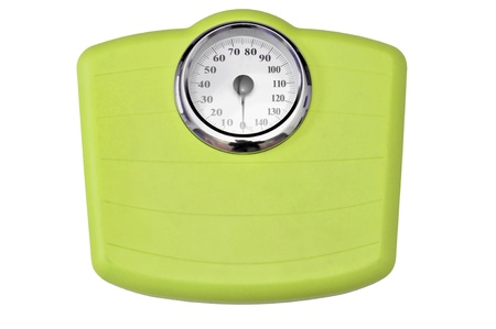kilograms: Green bathroom scale isolated in white Stock Photo