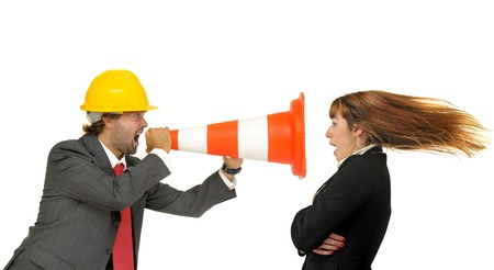 Engineer shouting at a woman isolated in white photo
