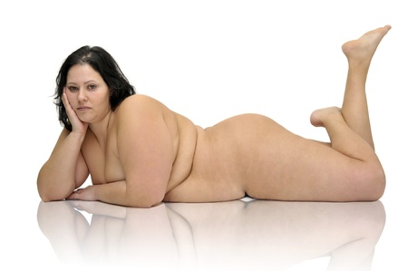 Beautiful nude large girl isolated in white Stock Photo - 9120861