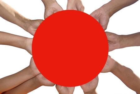 Hands around Japan's flag Stock Photo - 9213864