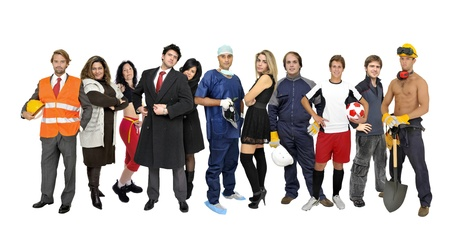 fun at work:  Crowd or group of different people isolated in white