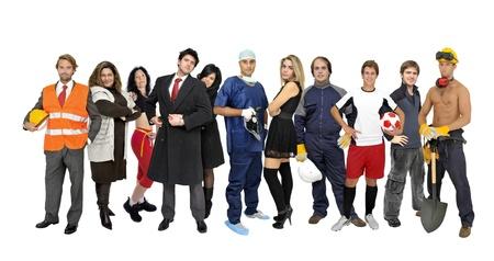 arbeiten:  Menge oder Gruppe von verschiedenen Personen isoliert in wei� Lizenzfreie Bilder