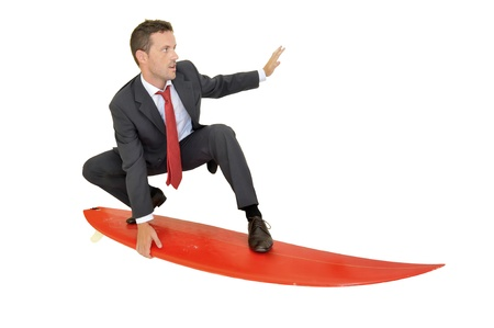Young businessman with surf board