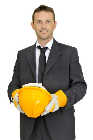 Engineer with hat posing isolated in white photo