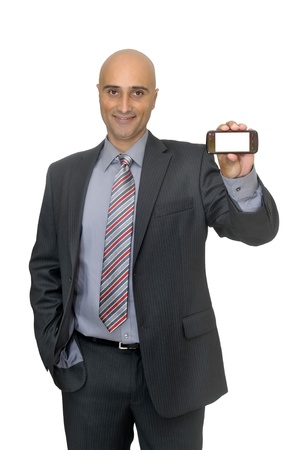 celphone: Happy businessman with cellphone  Stock Photo