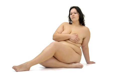 Beautiful nude large girl isolated in white Stock Photo - 9431859